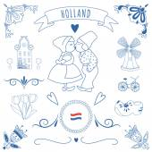 Collection of Dutch ornaments (Deflt blue style) — Stock Photo