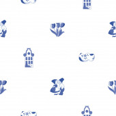 Seamless pattern with Dutch ornaments (Deflt blue style) — Stock Photo