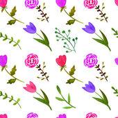 Acuarela floral patrón sin costuras — Vector de stock