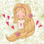 Cute girl on floral background — Vettoriale Stock