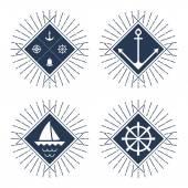 Set of nautical logos, badges and labels  — Vetor de Stock