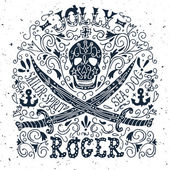 Jolly Roger. Hand drawn vintage label with a pirat skull and two — Stock Vector
