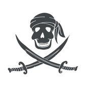 Jolly Roger. Hand drawn illustration of skull with swords. — Stock Vector
