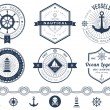 Set of nautical logos, badges and labels — Stock Vector #67978483