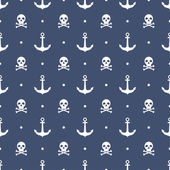 Seamless pattern with anchors and skulls — Stock Vector