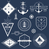 Set of nautical logos, badges and labels — Stock Vector