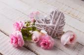 Postcard with flowers and decorative heart — Stockfoto