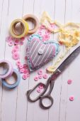 Heart and scrapbooking elements — Stock Photo