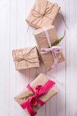 Festive gift boxes — Stock Photo