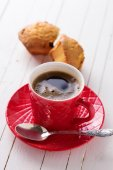 Cup of aromatic coffee and homemade cakes  — Stock Photo