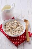 Oat flakes for breakfast — Stock Photo
