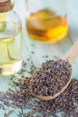 Lavender buds and  aroma oil — Stock Photo