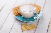 Milk or kefir in cup — 图库照片