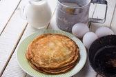 Pancakes. Ingredients for pancakes. — Stock Photo