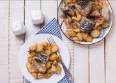 Sea fish sardine with potato — Stockfoto