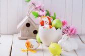 Barevné velikonoční vajíčka a králík — Stock fotografie