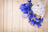 Decorative heart and spring flowers — Stock Photo