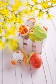 Colorful easter eggs in box — Stock Photo