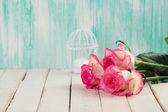Flowers on wooden background. — Zdjęcie stockowe