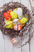 Easter eggs and willow branches — Stock Photo