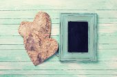 Hearts and board for text — Stock Photo