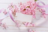 Postcard with fresh flowers hyacinths  — Stock Photo