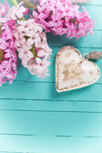 Background with fresh flowers hyacinths and heart — Stockfoto