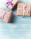 Many wrapped boxes with presents — Stock Photo