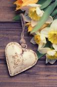 Background with fresh daffodils and tulips and decorative heart — Stock Photo