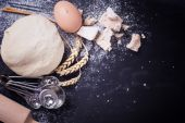 Dough on slate  background — Stock Photo