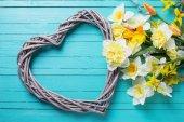 Bakgrund med färska påskliljor och dekorativt hjärta — Stockfoto