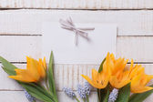 Background with fresh flowers  and empty tag — Stock Photo