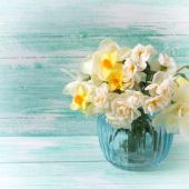 Postcard with daffodils flowers in vase — Stock Photo