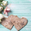 Background with fresh flowers and hearts — Stock Photo #74115963