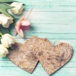 Background with fresh flowers and hearts — Stock Photo #74121101