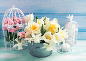 Background with fresh narcissus and tulips — Stock Photo