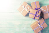 Wrapped boxes with presents — Stock Photo