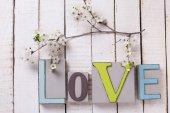 Слова любви и Цветущая ветка — Стоковое фото