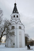 Crucifixion church bell tower — Stock Photo