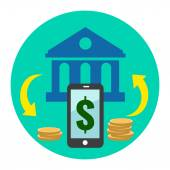 Mobile Banking Icon. Flat style illustration. — Stock Vector