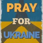 Постер, плакат: Pray for Ukraine Motivational Poster