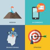 Set of flat design concept icons for business. Mission, M-commer — Stockvector