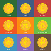 Flat Golden Coins. Currency Icons. — Stock Vector