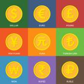 Flat Golden Coins. Currency Icons. — Cтоковый вектор