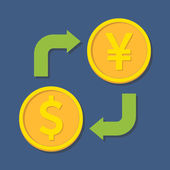 Currency exchange. Dollar and Yen(Yuan). — Stock Vector