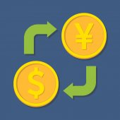 Currency exchange. Dollar and Yen(Yuan). — Stok Vektör