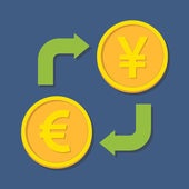 Currency exchange. Euro and Yen(Yuan).  — Stok Vektör