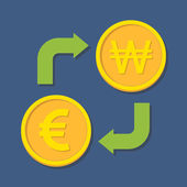 Currency exchange. Euro and Won. — Vecteur