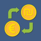 Currency exchange. Euro and Shekel.  — Stok Vektör