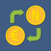 Currency exchange. Euro and Naira.  — Stok Vektör